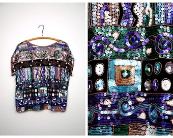 Vintage Glam Sequined Beaded Top by Le Mieux // 80's Trophy Top // Purple Green Blue Sequin Top