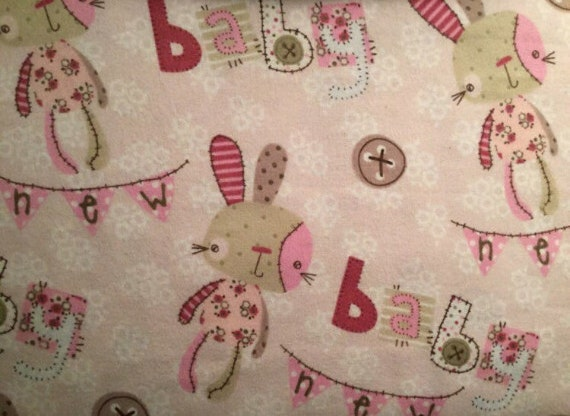 Flannel baby bunny fabric pink baby girl fabric baby for Baby girl fabric