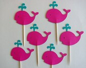 12 Hot Pink and Aqua Whale Nautical Cupcake Toppers, for Birthday or Baby Shower