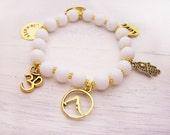 Yoga Bracelet - Namaste Bracelet - Hamsa Gold Charm Bracelet - Stacking Bracelet - Adjustable Stretch Bracelet - White Glass Beaded Bracelet