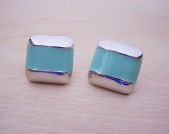 Vintage Bright Silver Square Metal Mint Clip On Earrings - Gift for Her - M250