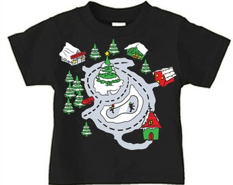 Race Track Shirt Road Map T-Shirt Gift for Boy Christmas Shirt - Christmas In July SPECIAL