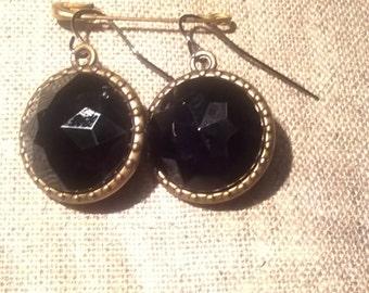 Black Gem Cut earrings
