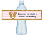 Light Pink and Gold Sparkle Printable Minnie Mouse Water Bottle Labels