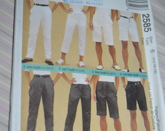 McCalls 2585 Misses Pants in Four Lengths Sewing Pattern - UNCUT - Size 14 16 18