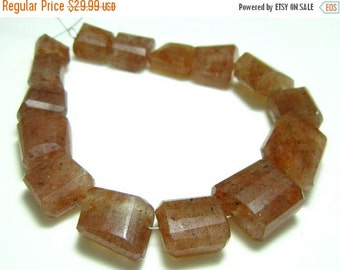 "MEGA SALE Strawberry Quartz Step Cut Big Nuggets- 8"" Strand -Stones measure- 10-15mm"