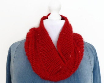 Red infinity scarf, sequin circular scarf, knitted cowl neck scarf, UK scarf shop.