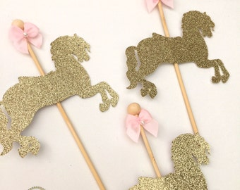 Carousel Horse Cupcake Topper / Merry Go Around Horse - Glitter