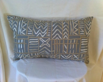 Custom Single-Gray or Off-white-Embroidered Geometric Print-14x24 Inch Kidney Pillow Cover-Solid Back-Free Shipping
