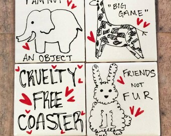 Cruelty Free Coasters Animal Lover not Eater