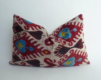red ikat pillow case // red silk velvet pillow // red ikat velvet cushion // silk ikat cushion