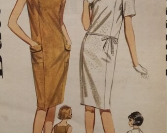 UNCUT and FF Pattern Pieces Vintage Butterick 3107 Sewing Pattern  1960s Size 16 Princess Shift  Dress