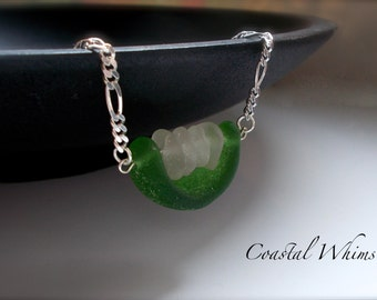 Sea Glass Handle Pendant, Sea Glass Spinner, Sterling Silver Necklace, Sea Glass Necklace, Genuine Green Sea Glass, Sea Glass Stack Pendant