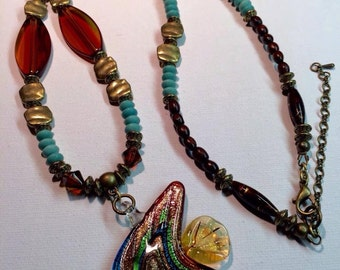 Beautiful Beaded Necklace with Murano Glass Fish Focal