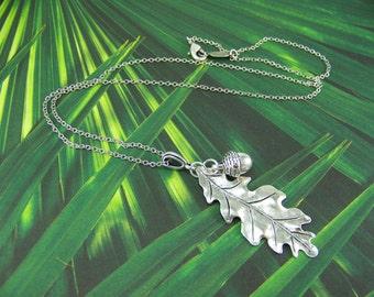 Oak Leaf Necklace, Acorn Necklace, Acorn and Oak Leaf Necklace, Silver Leaf Necklace, Silver Acorn Necklace, Good Luck Necklace, Acorn, Oak
