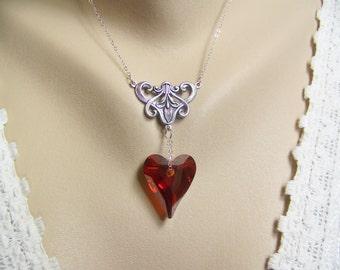 Crystal Heart Necklace, Red Magma Swarovski Wild Heart Crystal, Valentine Necklace, Wild Heart Crystal, Wedding, Valentine's Day