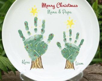 Christmas Tree Handprint Plate 302B_plt_hand and footprint art, baby footprint keepsake, first christmas, grandma, grandpa gift, print kit