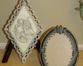 Vintage Wall Sculpture handing Statues art Work Plaque and Antiqued Florentine Ornate Oval Picture Frame