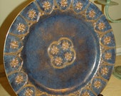 "ANTIQUE/VINTAGE 60's Chinese Export Hand Painted Plate 101/2 ""China Cabinet Plate Cobale blue with 22KT Gold"