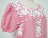 Embroidered Mexican Blouse Cotton Top In Pink, Boho Blouse, Hippie Top