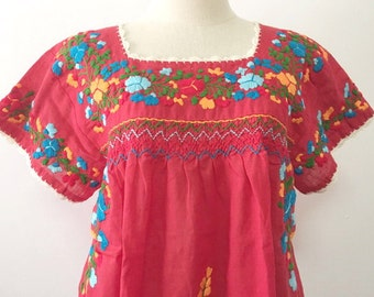 Embroidered Mexican Blouses Cotton Top In Red, Boho Blouse, Hippie Top Bohemian Style