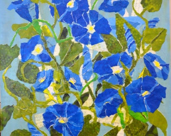 Morning Glory - Paper Painted Collage - Collage Art-  Floral Art-  Mixed Media - Original Painting  - Pam George -Torn Paper Collage -