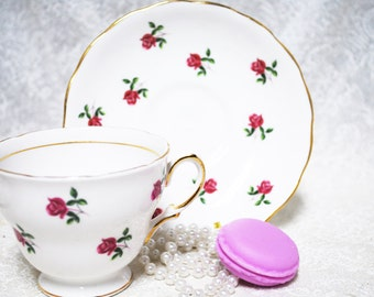 COLCLOUGH Bone China Tea Cup and Saucer /Tiny Pink Roses /tea party /  vintage wedding / Shabby Chic