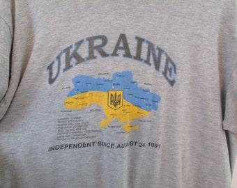 Vintage 1990s  Ukraine Map Indepenent Gray Tourist T Shirt Sz L