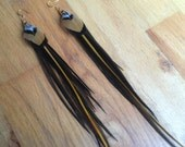 Long Venery Pheasant Feather Earrings with Gold, Black, Brown, and Pink Chicken Feathers