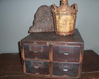 Vintage Globe Wooden Card Catalog Library Index Dewey Decimal