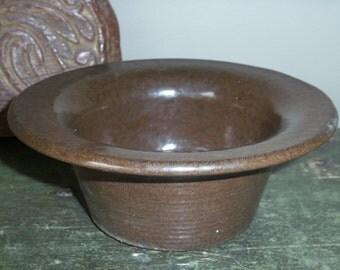 Vintage Stoneware Pottery Bowl Rustic Brown Farmhouse