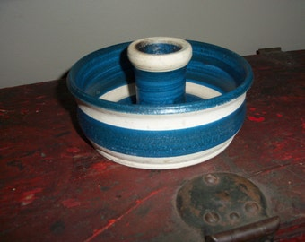 Vintage Handmade Stoneware Pottery Blue Striped Candle Holder