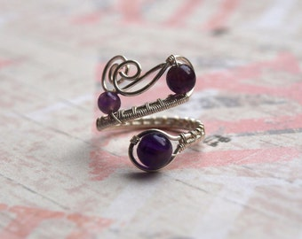 Amethyst Ring Silver Plated Adjustable Ring Stone ring amethyst ring Gift wire wrap ring Wire Jewelry unique rings for her gift under 30