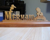 Mermaid Hand Cut Wood Sign