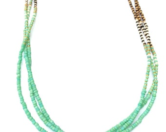 Braided Ombre Necklace in Green