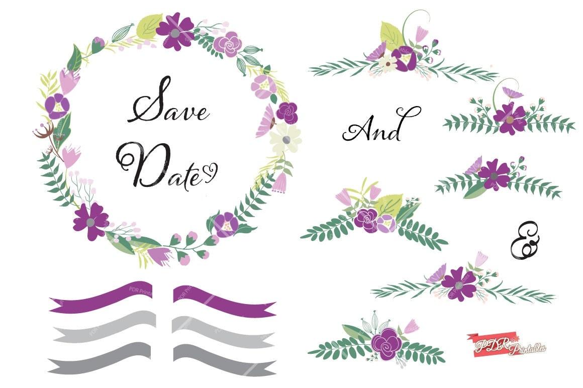 Wedding invitation clipart purple design asset floral wreath