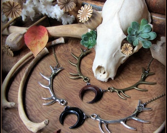 Moon Necklace w/ Antlers ~ Lagertha, Witchy Pagan Witch Wiccan jewelry, Wicca, Viking Goddess, Crescent Eclipse Lunula