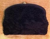 Mel-Ton designer black velvet purse clutch bag formal evening holiday Mid Century Hollywood Regency Glam fashion accessory made in USA