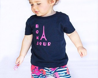 Bonjour paris france french baby girl shirt