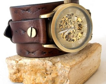 Mens Steampunk watch, Leather cuff watch, Skeleton wrist watch,  Mechanical Bronze watch men,