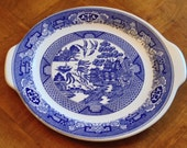 """Royal China """"Blue Willow"""" - Handled Cake Plate Round Platter"""