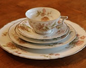 """Haviland Limoges France """"Poppy"""" Pattern Five Piece Place Setting:  Dinner Plate, Salad Plate, Bread Plate, Cup and Saucer"""