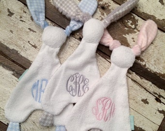 Bunny Lovey with Monogram/Easter/Baby Shower/Nursery