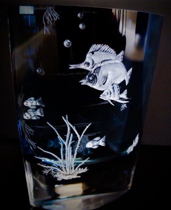 Hand Engraved Coral Fish Vase, Fish, oceanic, Home Decor, Art Glass, Engraved