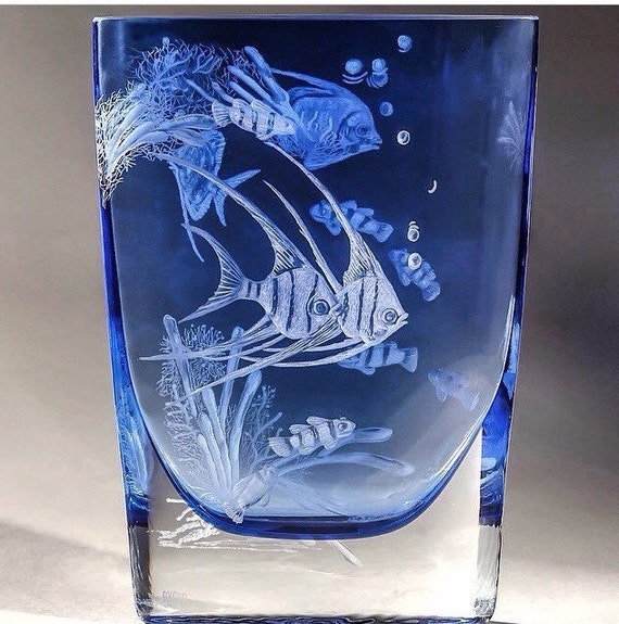 Hand Engraved Coral fish vase, with 3D effects, Flower Vase, Engraved, Coral Fish, decor