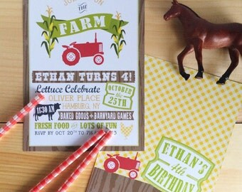 Down on the Farm Tractor Invitation - Printed