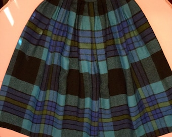 1950's Wool Tartan Plaid Skirt~Blues & Greens~Sz S