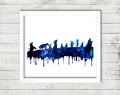 Lord Of The Rings Journey to Mordor Character Silhouettes Watercolor | Digital Print