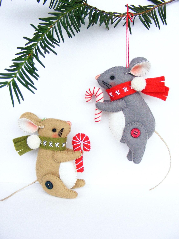PDF pattern - Christmas Mouse - felt Christmas ornament ...