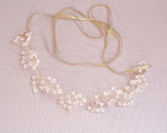 Bridal hair vine, crystals, pearls, wedding headpiece, bridal wreath, pearls and crystals twisted on wire, Style 422